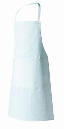 TABLIER VALET BLANC 100X105 BAVETTE ET POCHE 100% COTON #