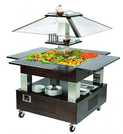 BUFFET REFRIGERE MOBILE CENTRAL 4 GN 1/1- WENGE #