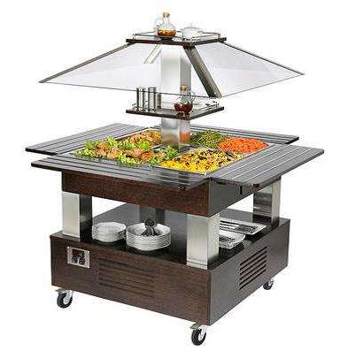 BUFFET CHAUFFANT MOBILE CENTRAL 4 GN1/1 - WENGE #