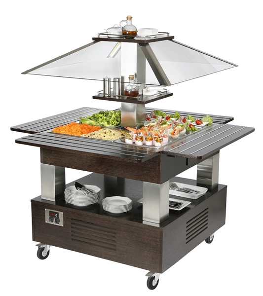 BUFFET REFRIGERE MOBILE CENTRAL TOIT MOTORISE - WENGE